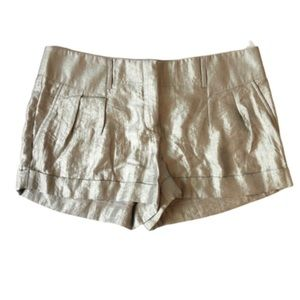 Express Silver Metallic Pleated Cuffed Shorts 8